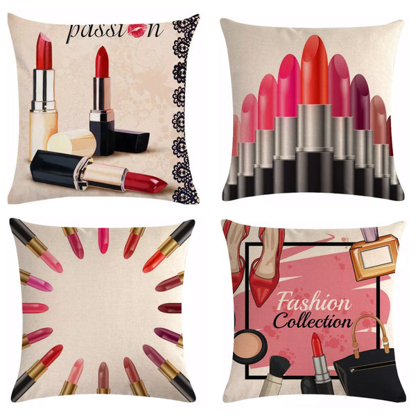 Cosmetic Makeup Lipstick Throw Pillows Off White