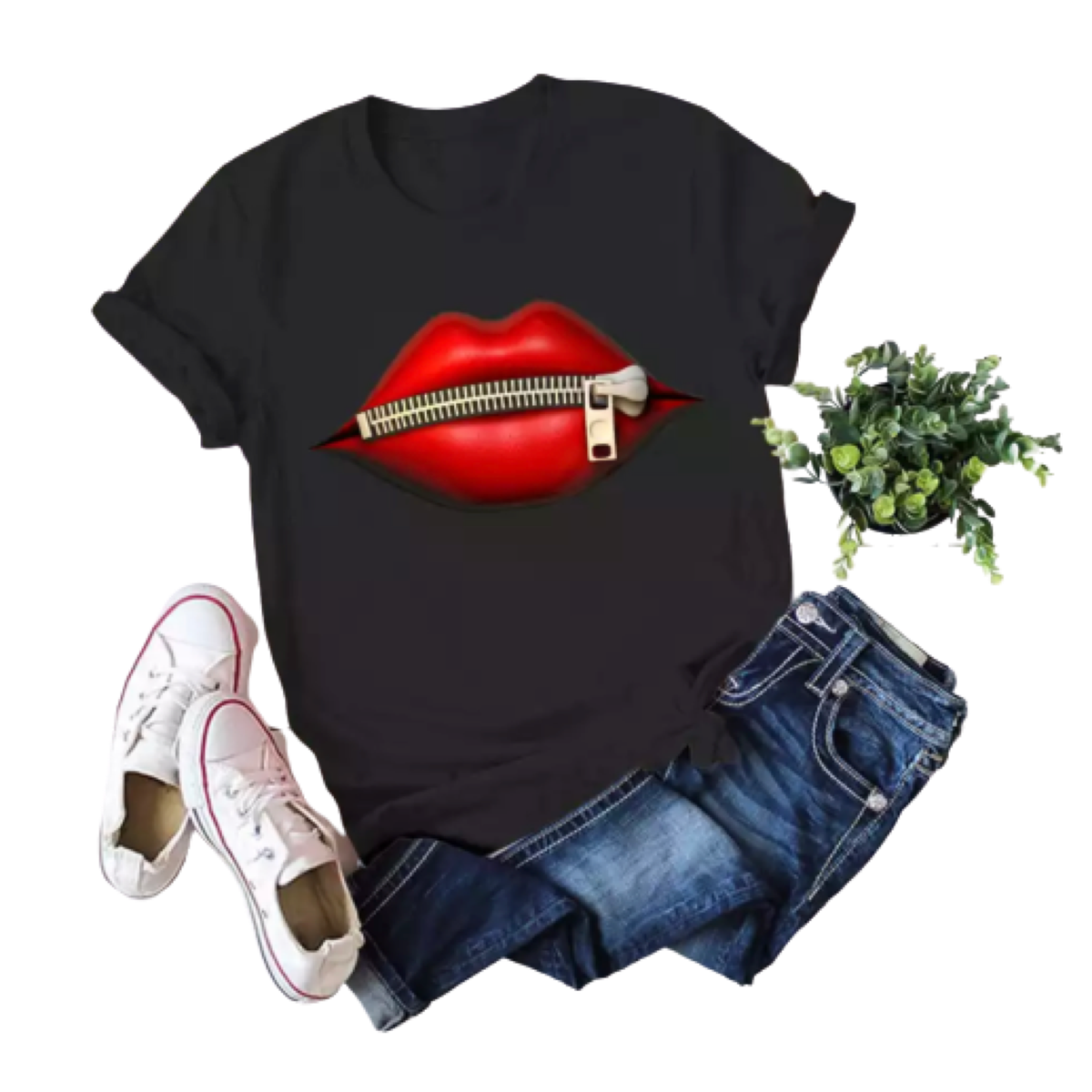 Red Lips T Shirt Vintage Look