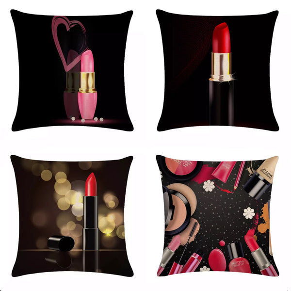 Cosmetic Lipstick Makeup Throw Pillows Black