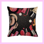 Cosmetic Lipstick Makeup Throw Pillows Black - lexinoelbeauty.com