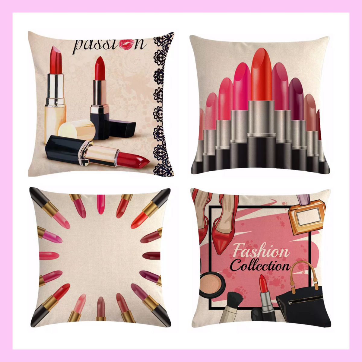 Cosmetic Makeup Lipstick Throw Pillows Off White - lexinoelbeauty.com