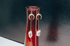 Crescent Moon Clear Quartz Gold Filled Earrings