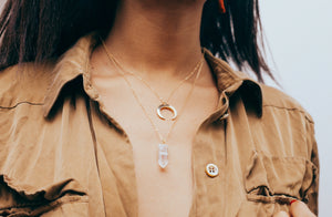 Clear Quartz and gold Crescent Moon necklace lifestyle photos