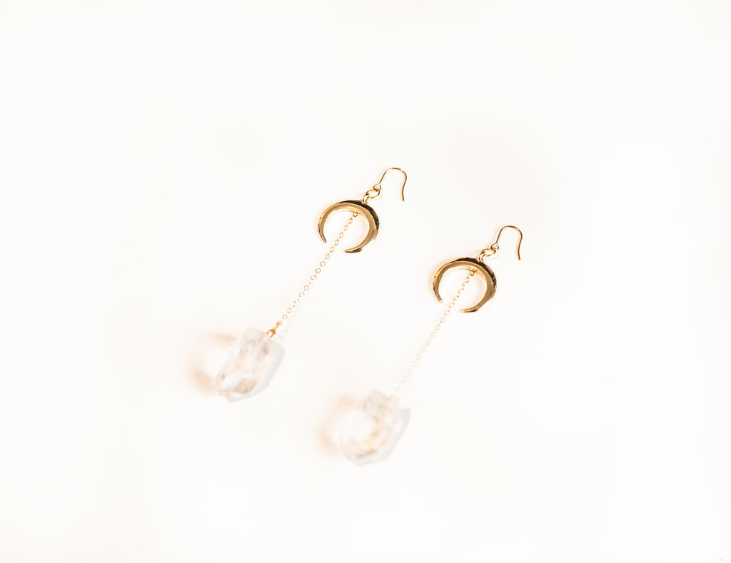 Crescent Love Earrings | Gold Crescent Moon Clear Quartz Earrings