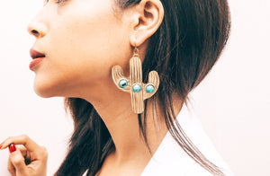 Cactus Earrings | Turquoise and Onyx Earrings | Desert Rose Earrings Lifestyle