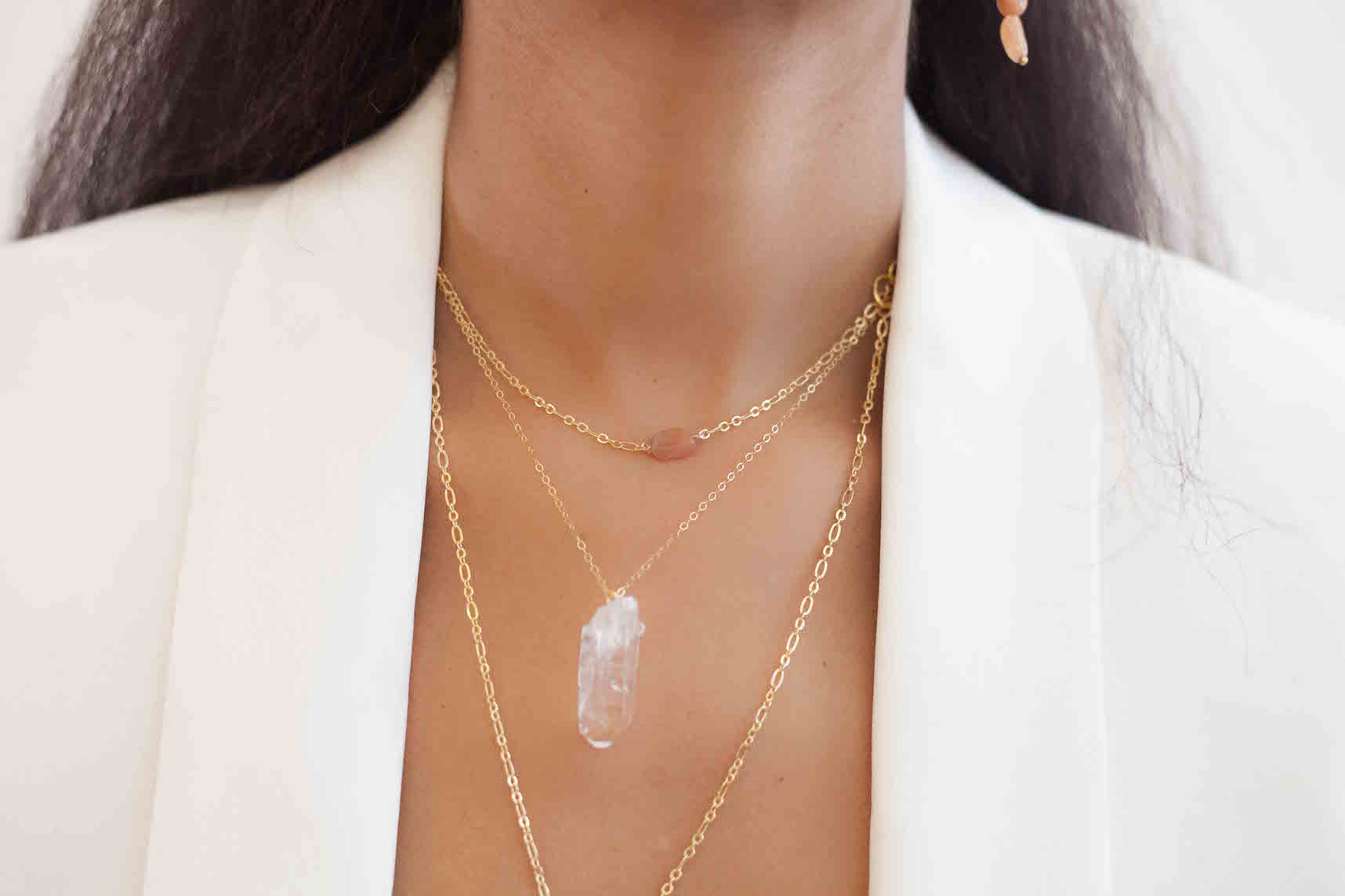 peach moonstone choker layering necklaces