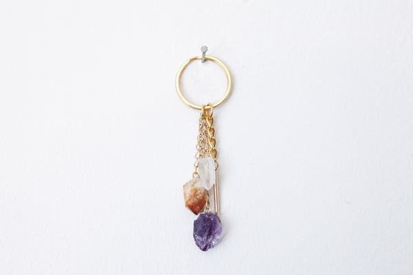 Gold Crystal Keychain with gold spike