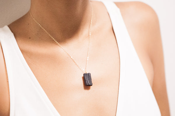Black Tourmaline | Protection Necklace | Crystal healing jewelry by Awakened Rose