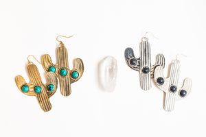 Cactus Earrings | Turquoise and Onyx Earrings | Desert Rose Earrings