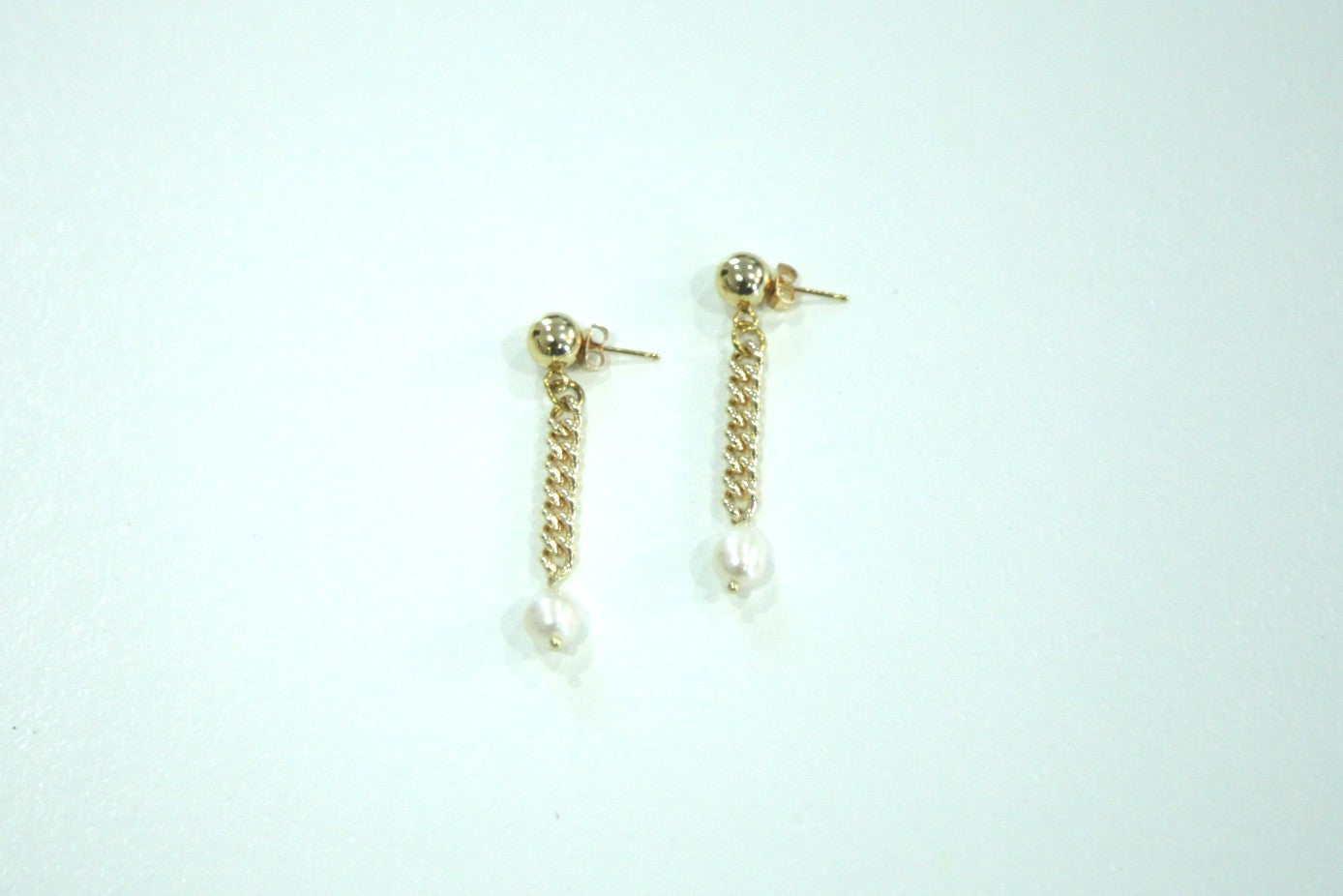 Freshwater Pearl Drop Earrings White background