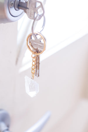 crystal keychain on keys