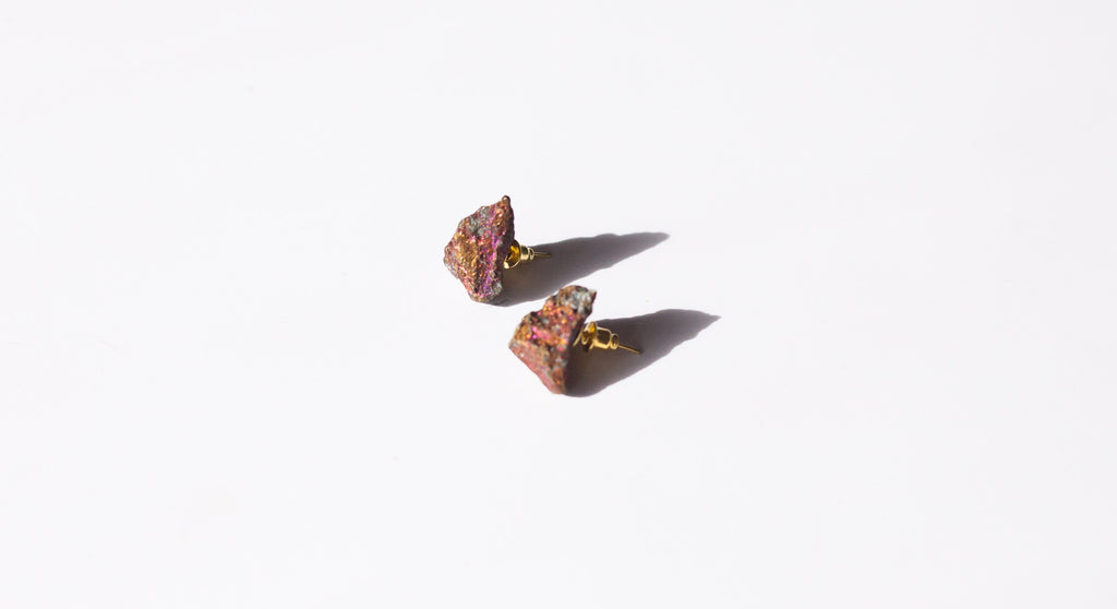 Peacock Ore Stud Earrings | Healing crystal jewelry by Awakened Rose