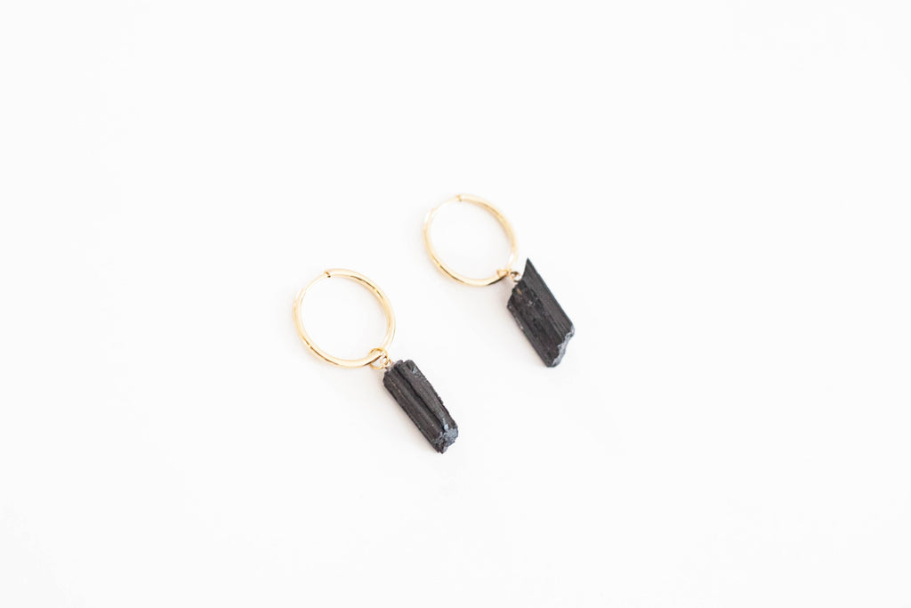 Black Tourmaline Hoop earrings
