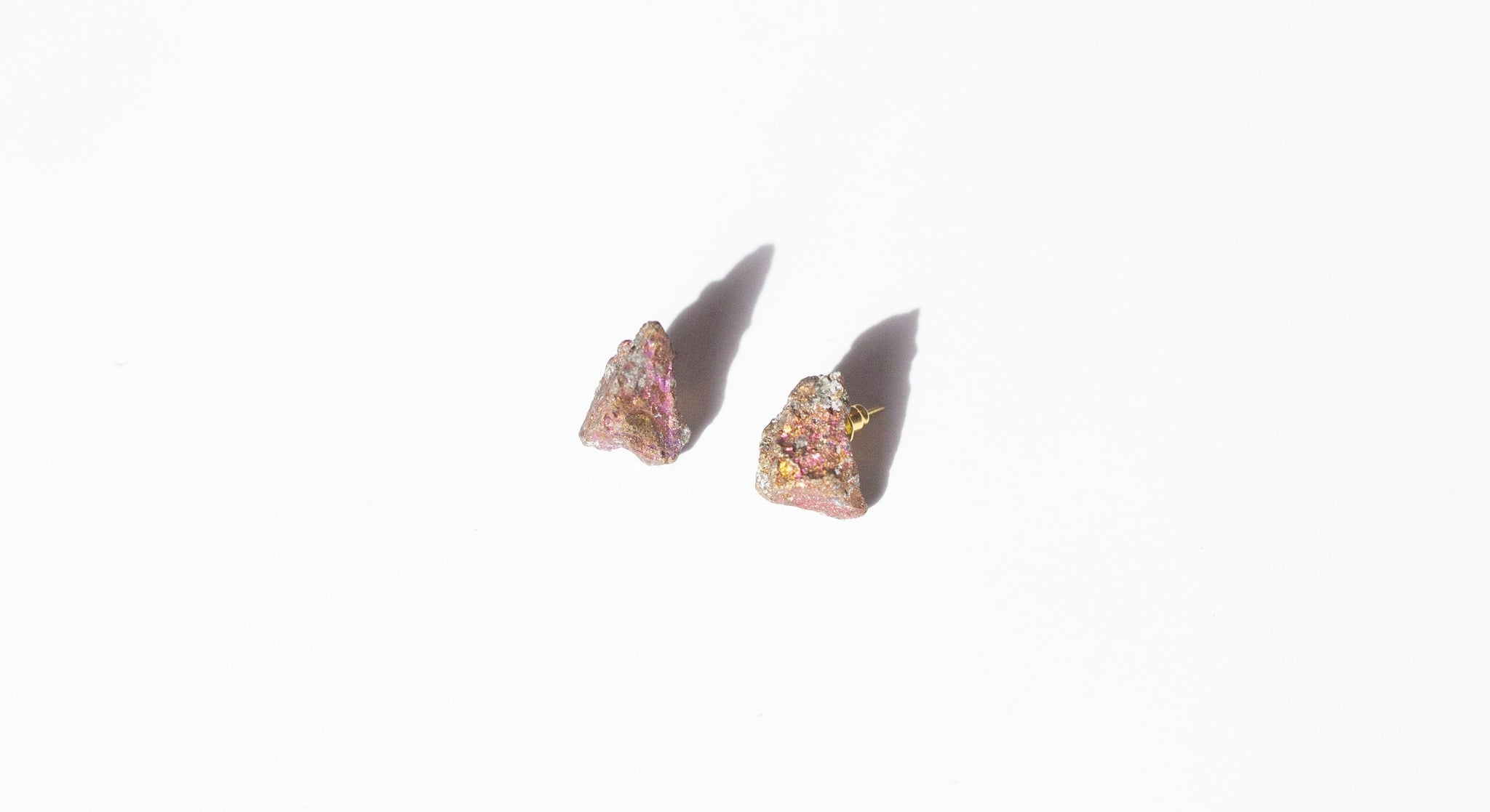 Peacock Ore Earrings | Crystal Stud Earrings | Awakened Rose
