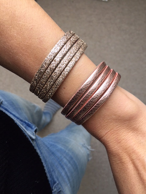 Thin handmade leather cuffs in rose gold and gold zebra