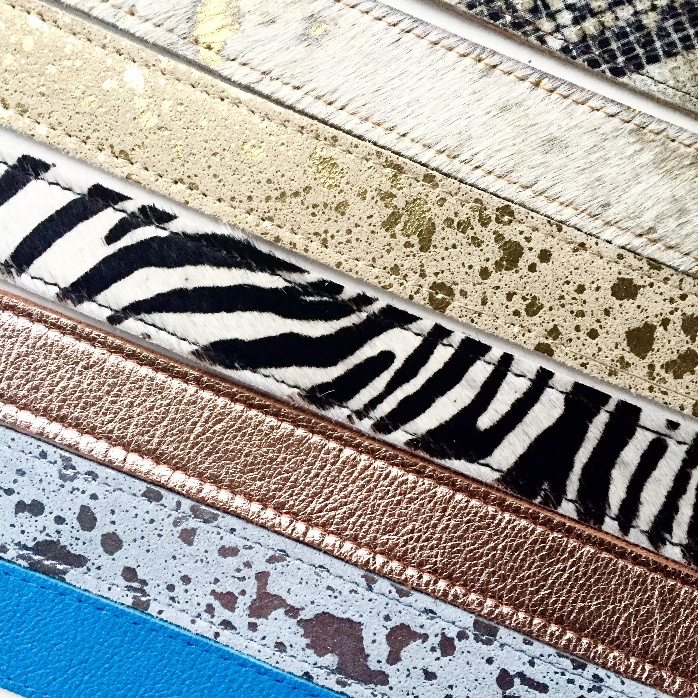 Handmade zebra print leather belt