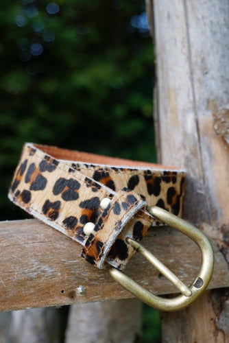 Leopard print leather belt