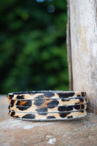 Handmade thin leather leopard print cuff