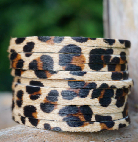 Leopard print leather cuff