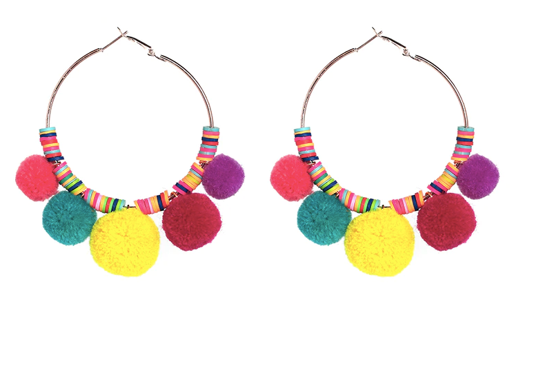 Rainbow Pom Pom Earrings