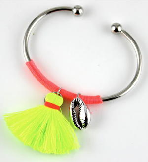 Neon tassel bangles in yellow, pink, orange or blue