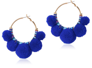 Fiesta Pom Pom Earrings in blue