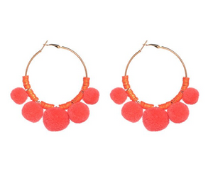 Coral Pom Pom Earrings