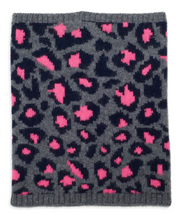 Leopard print cashmere snood in grey/pink