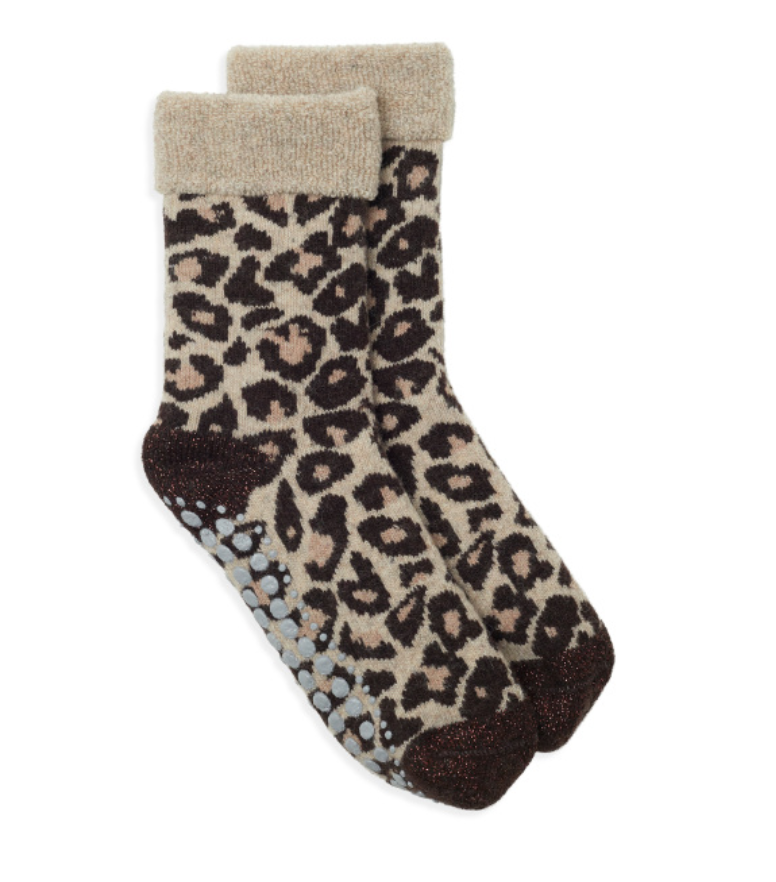 Leopard print wool-mix slipper socks