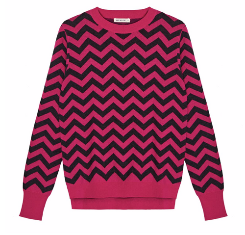 Chevron knit in pink and grey