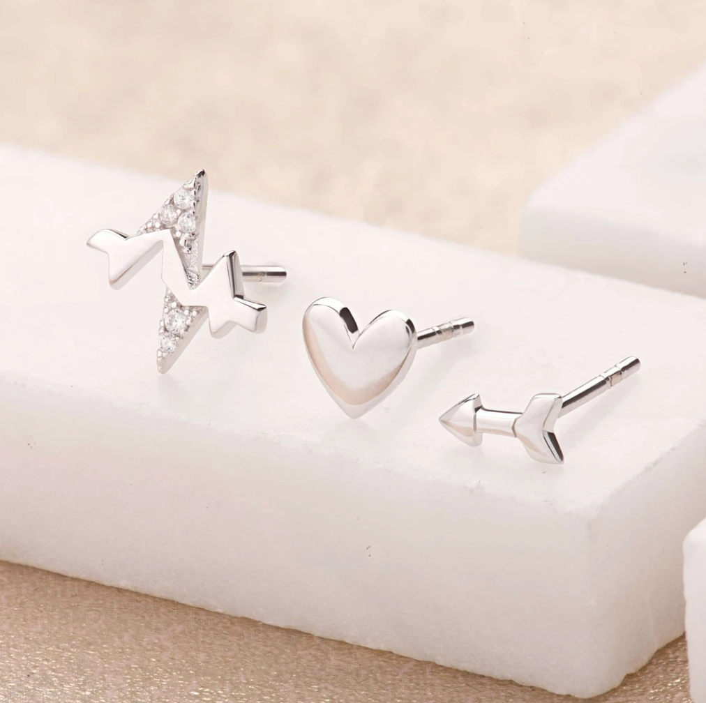 LOVE set of 3 single stud earrings in sterling silver