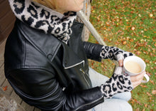 100% cashmere leopard print wrist warmers fingerless gloves