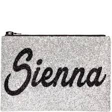 Personalised black glitter clutch