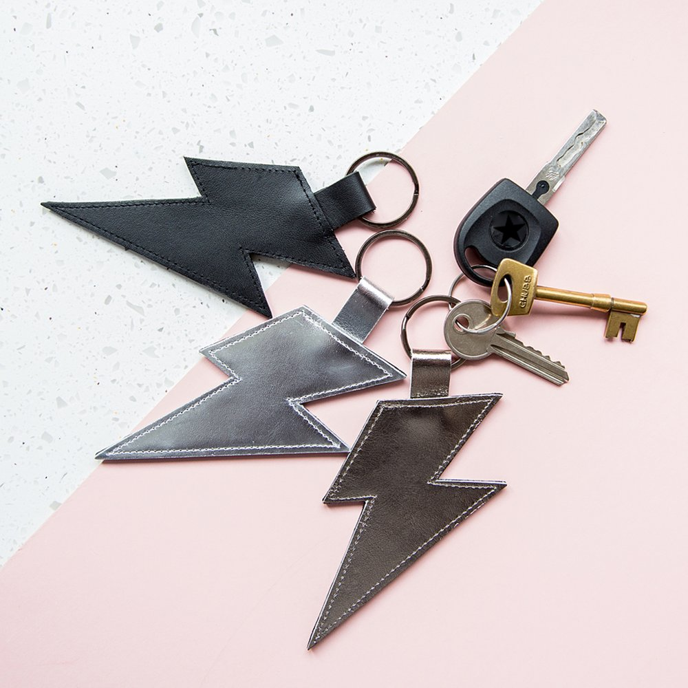 Handmade leather lightning bolt key ring
