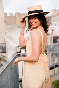 Sara yellow backless dress