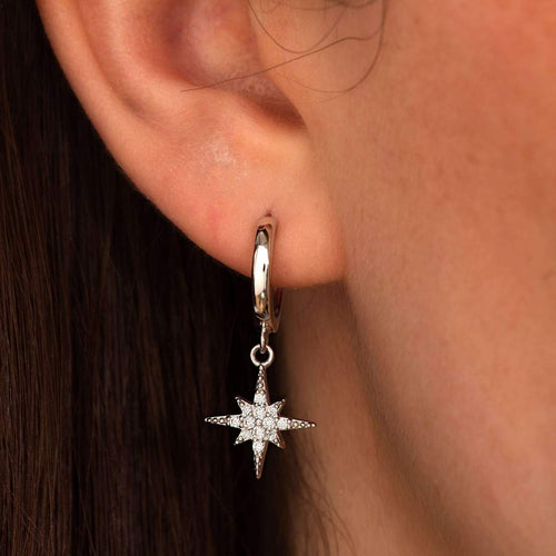 Silver-plated Starburst hoops