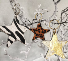 Leopard, black gold, cream gold or zebra handmade leather star keyring