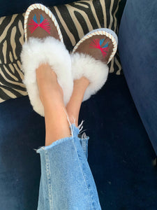 White Sheepskin Slippers