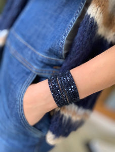 Navy glitter leather cuff