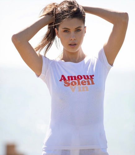 Amour, Soleil, Vin organic cotton tee