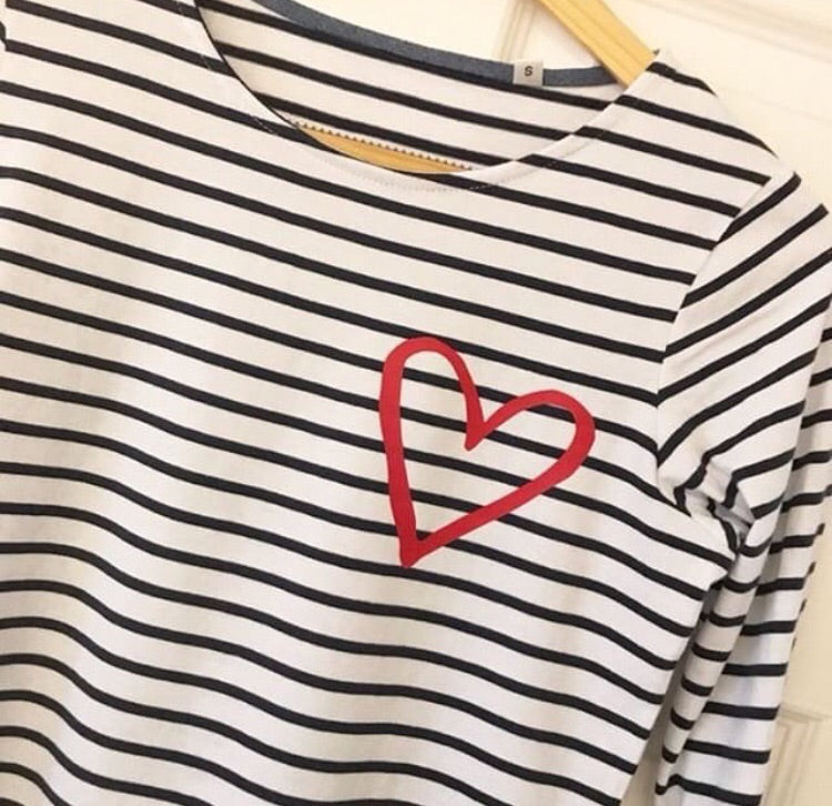 LOVE Breton with a red, silver, gold or rose gold heart