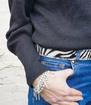 Zebra print leather belt