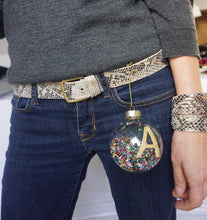 Thin handmade leather cuffs in Snakeskin with a gold shimmer