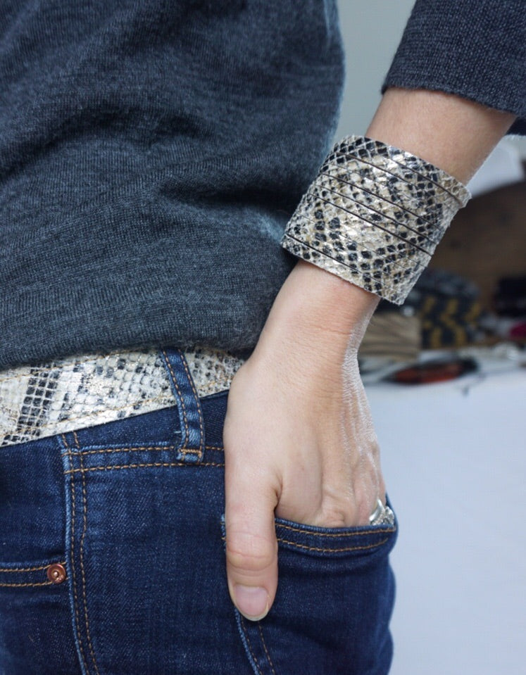 handmade snakeskin leather cuff