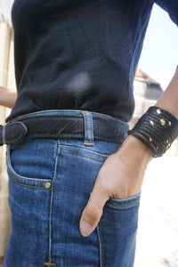 Black leather cowhide belt