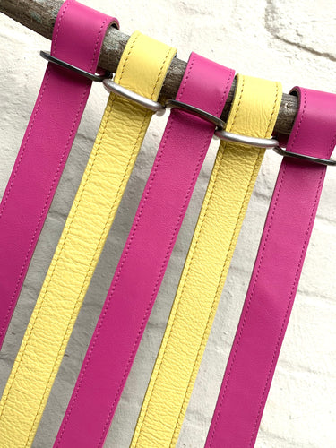 Hot pink leather belt