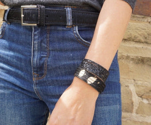 Leather glitter cuffs