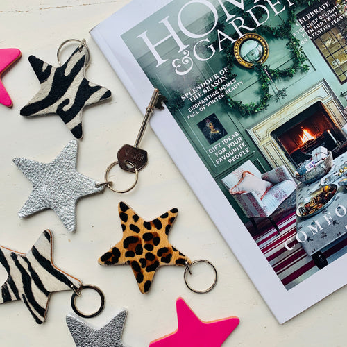 Silver handmade leather star keyring
