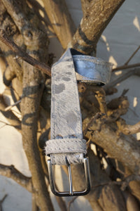Handmade silver splash leather belt
