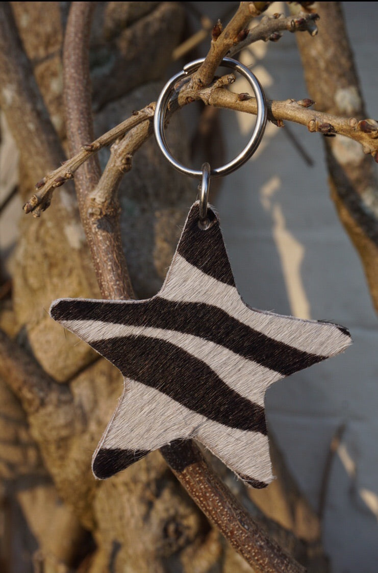 Zebra print handmade leather star keyring
